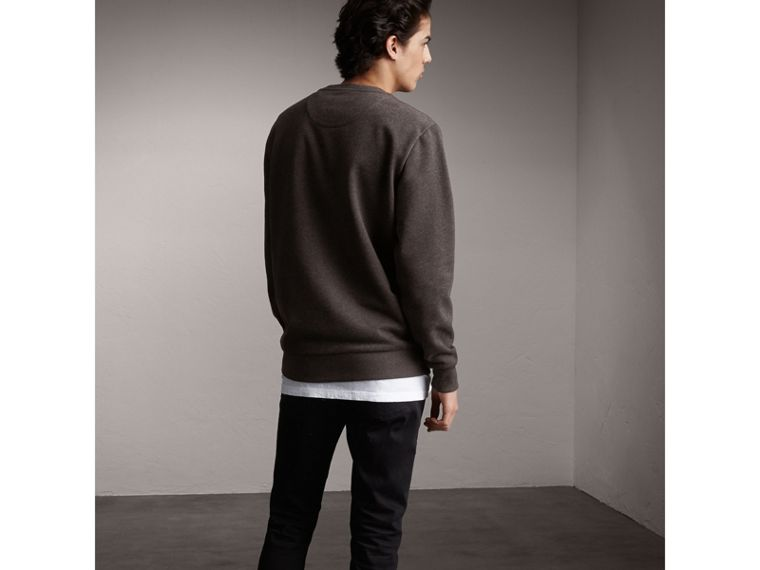 Unisex Beasts Print Silk Panel Cotton Sweatshirt in Charcoal Melange - Men | Burberry - cell image 1