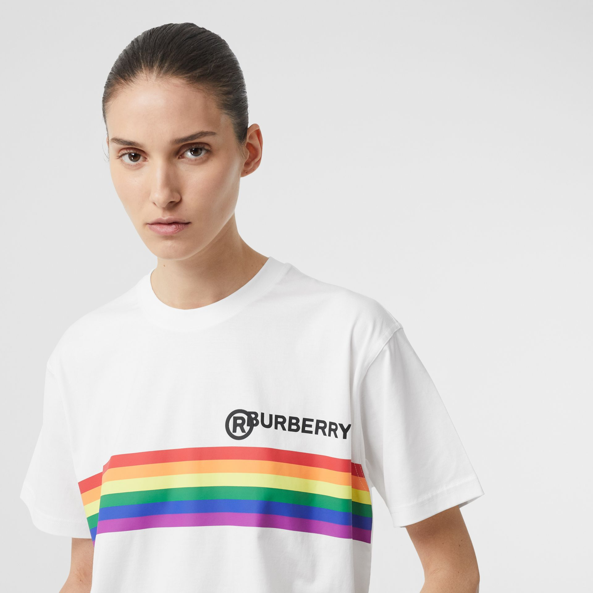 Rainbow Stripe Print Cotton Oversized T-shirt in White - Women | Burberry - gallery image 1