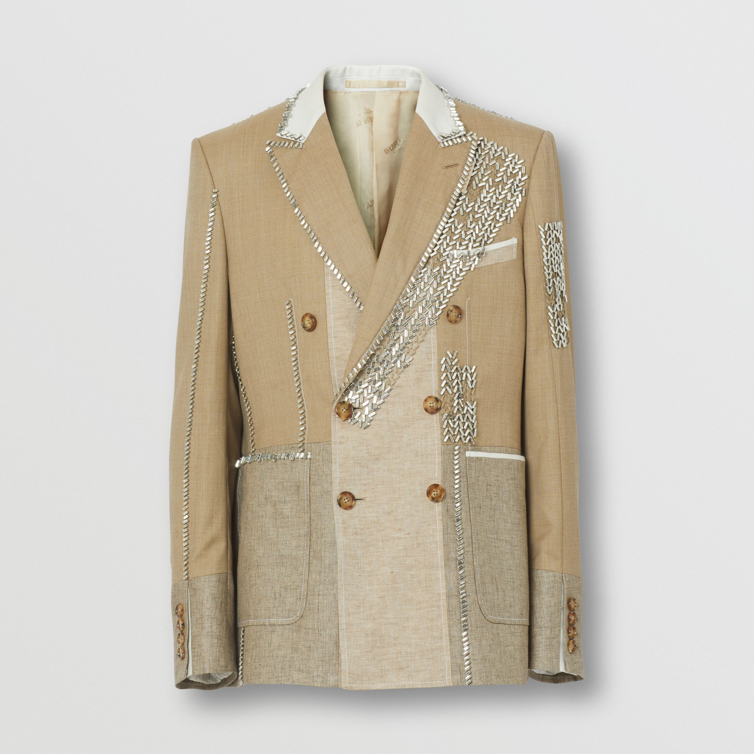 English Fit Crystal Embroidered Wool Cashmere Jacket in Pecan Melange - Men | Burberry - 4
