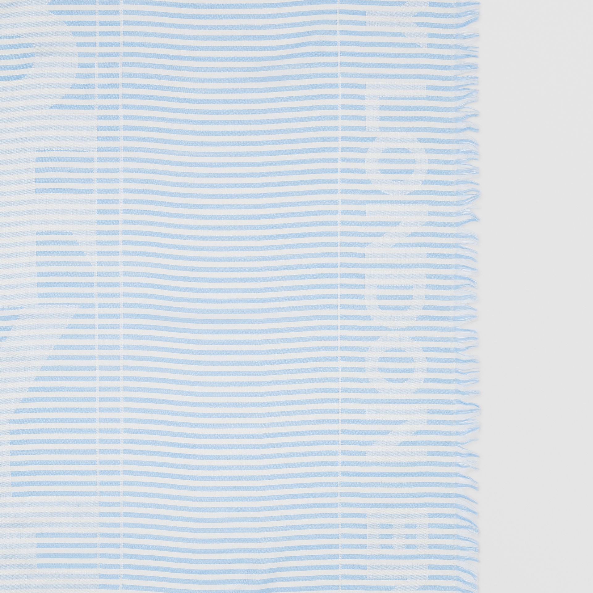 Striped Logo Silk Wool Jacquard Large Square Scarf in Pale Blue | Burberry - gallery image 1
