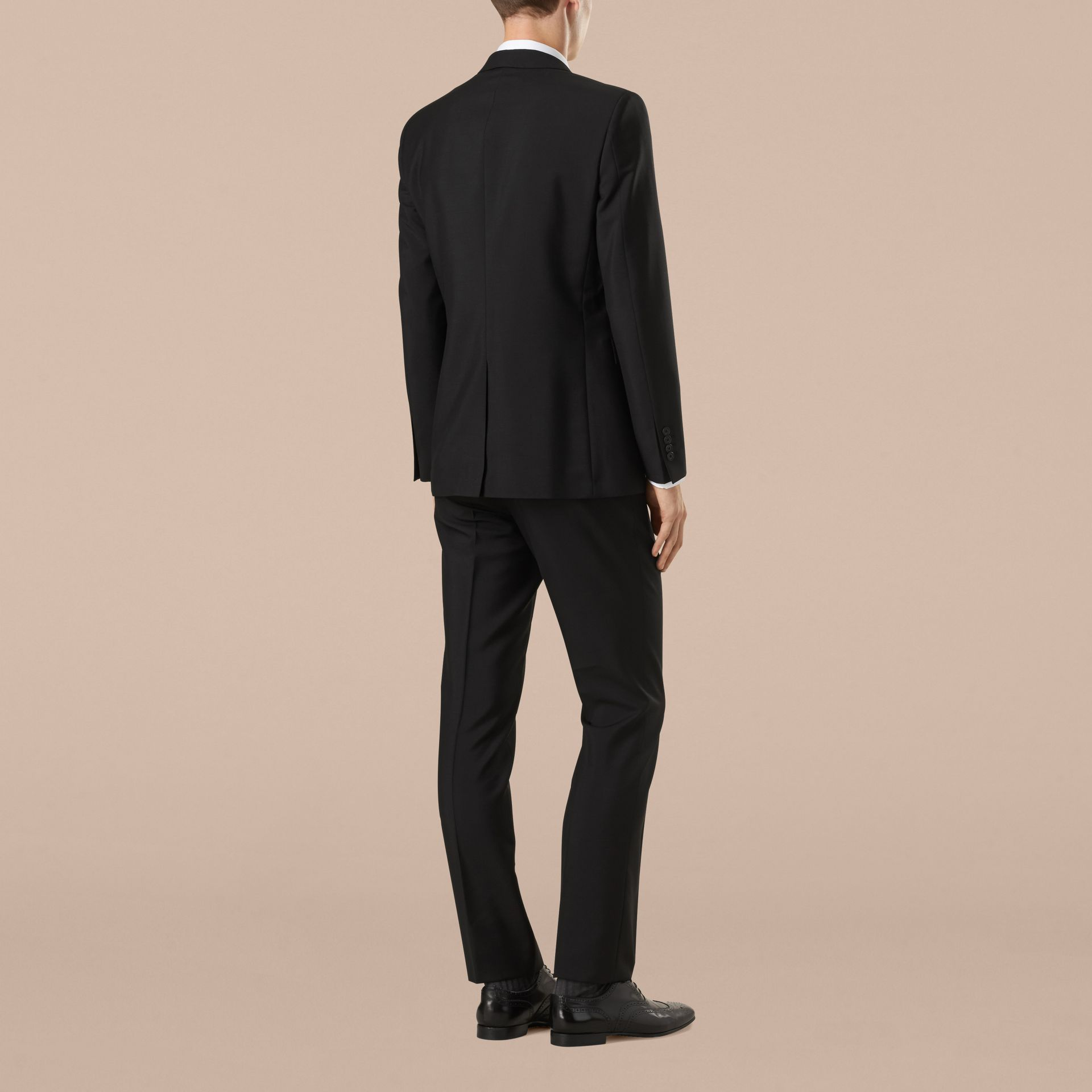 Modern Fit Wool Mohair Part-canvas Suit in Black - Men | Burberry - gallery image 3