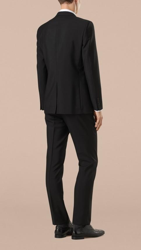 Black Modern Fit Wool Mohair Part-canvas Suit Black - Image 3