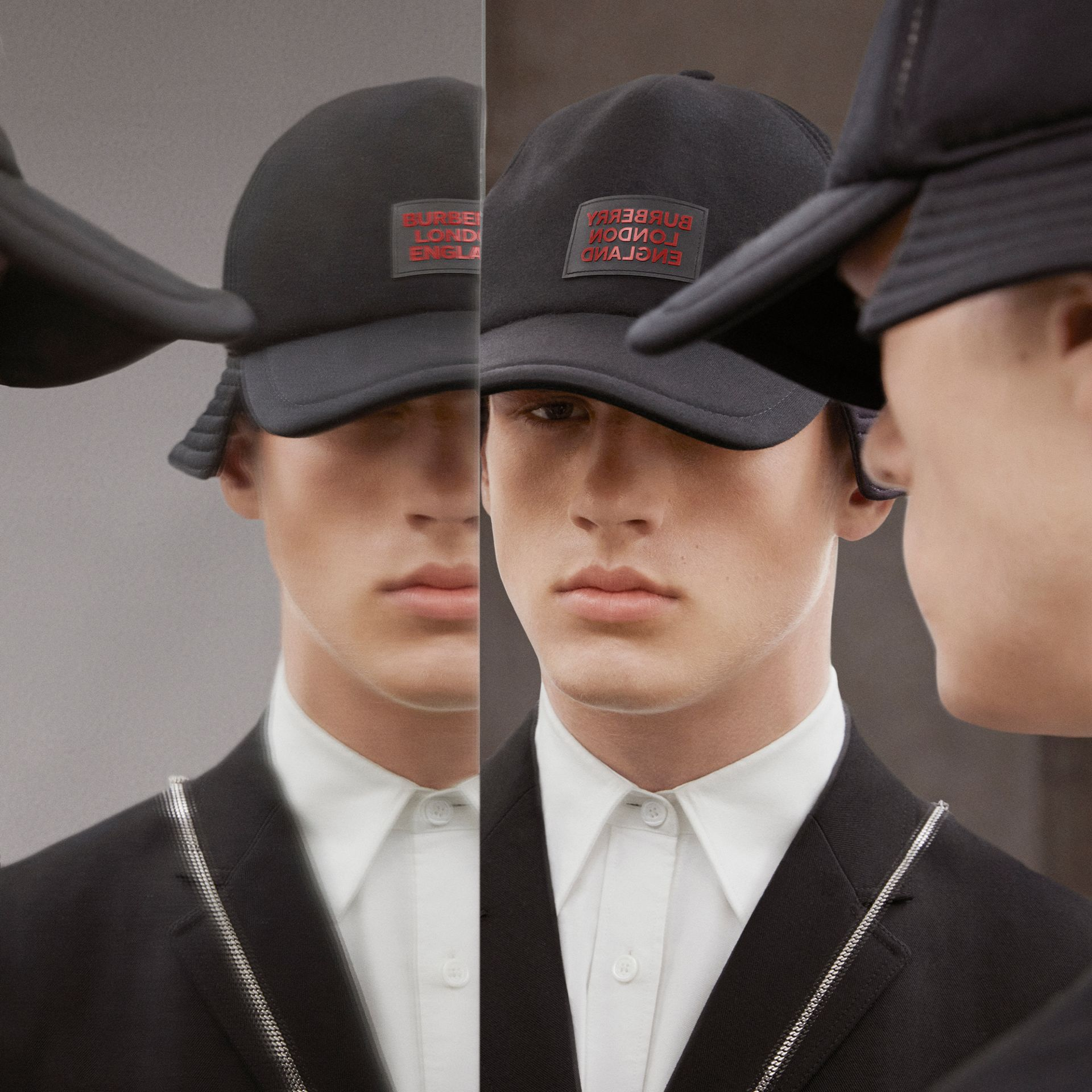 Logo Appliqué Reconstructed Baseball Cap in Black | Burberry Hong Kong S.A.R - gallery image 1