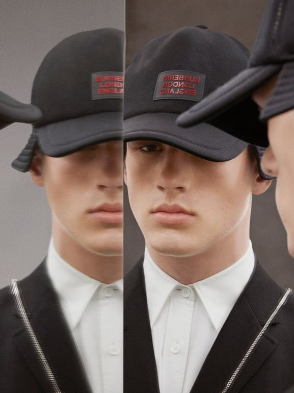 Logo Appliqué Reconstructed Baseball Cap in Black | Burberry Hong Kong S.A.R - cell image 1
