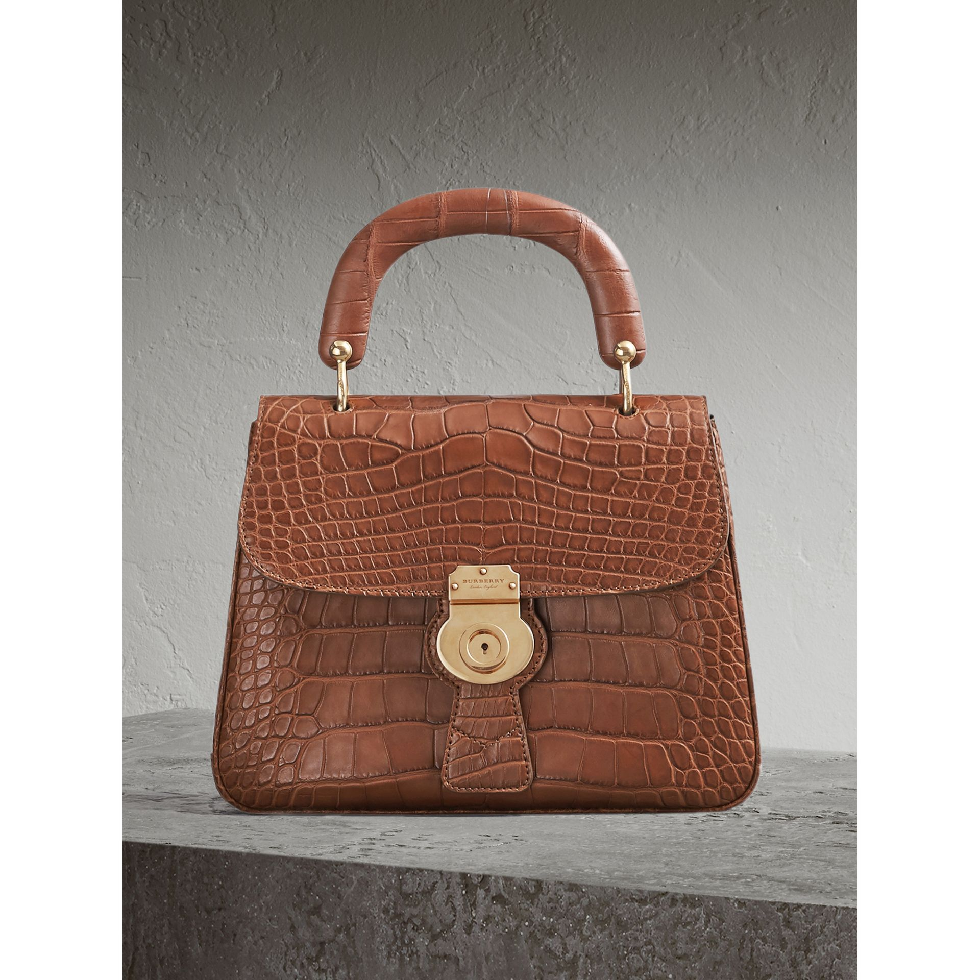 The Medium DK88 Top Handle Bag in Alligator in Tan - Women | Burberry Singapore - gallery image 0