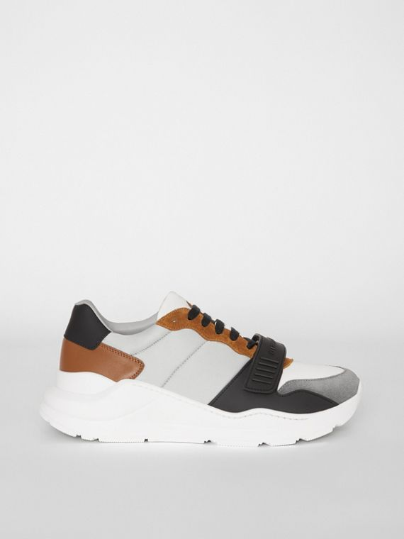 Suede, Neoprene and Leather Sneakers in Light Grey
