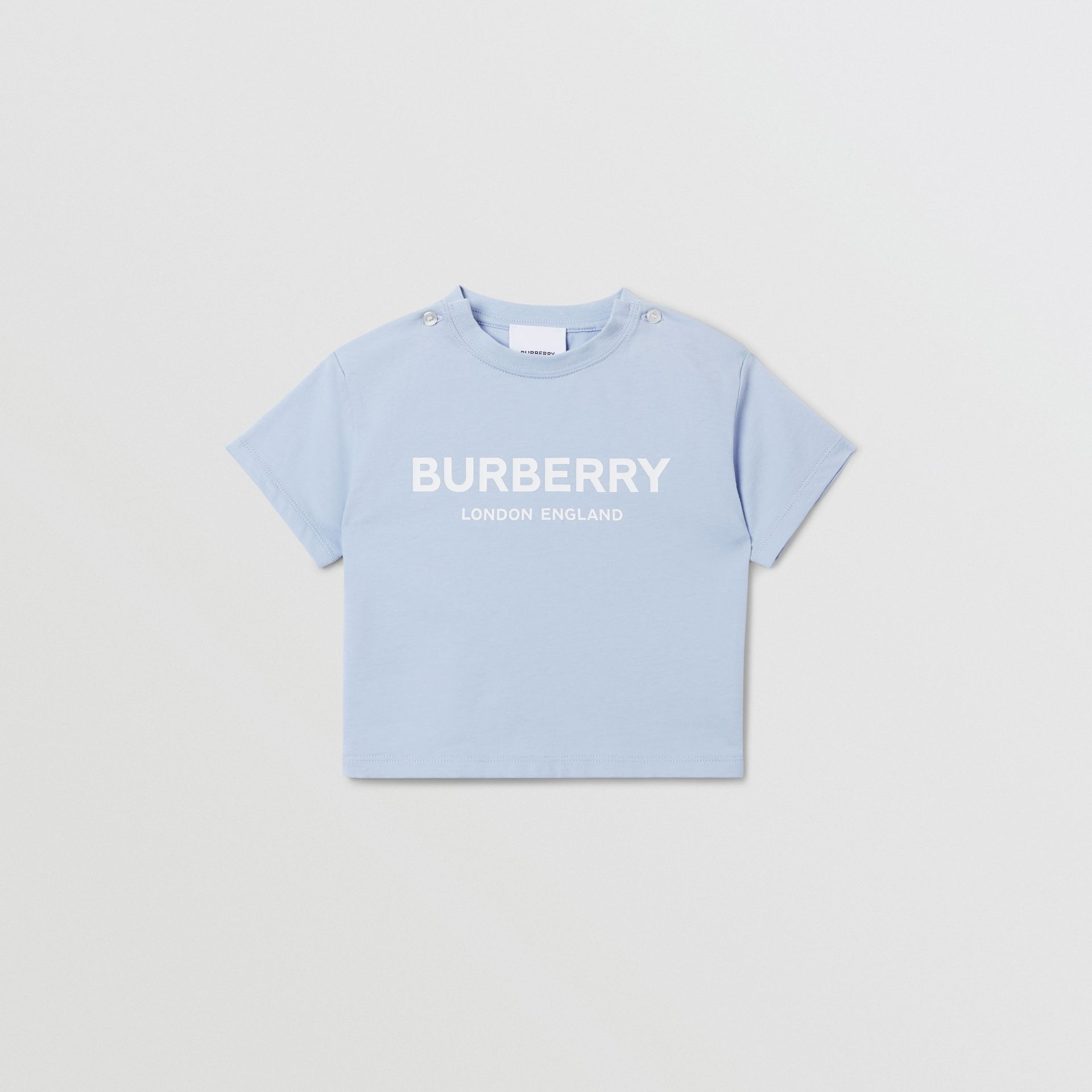 Logo Print Cotton T-shirt in Light Blue - Children | Burberry Canada - gallery image 0