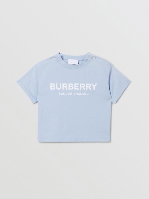 로고 프린트 코튼 티셔츠 (라이트 블루)