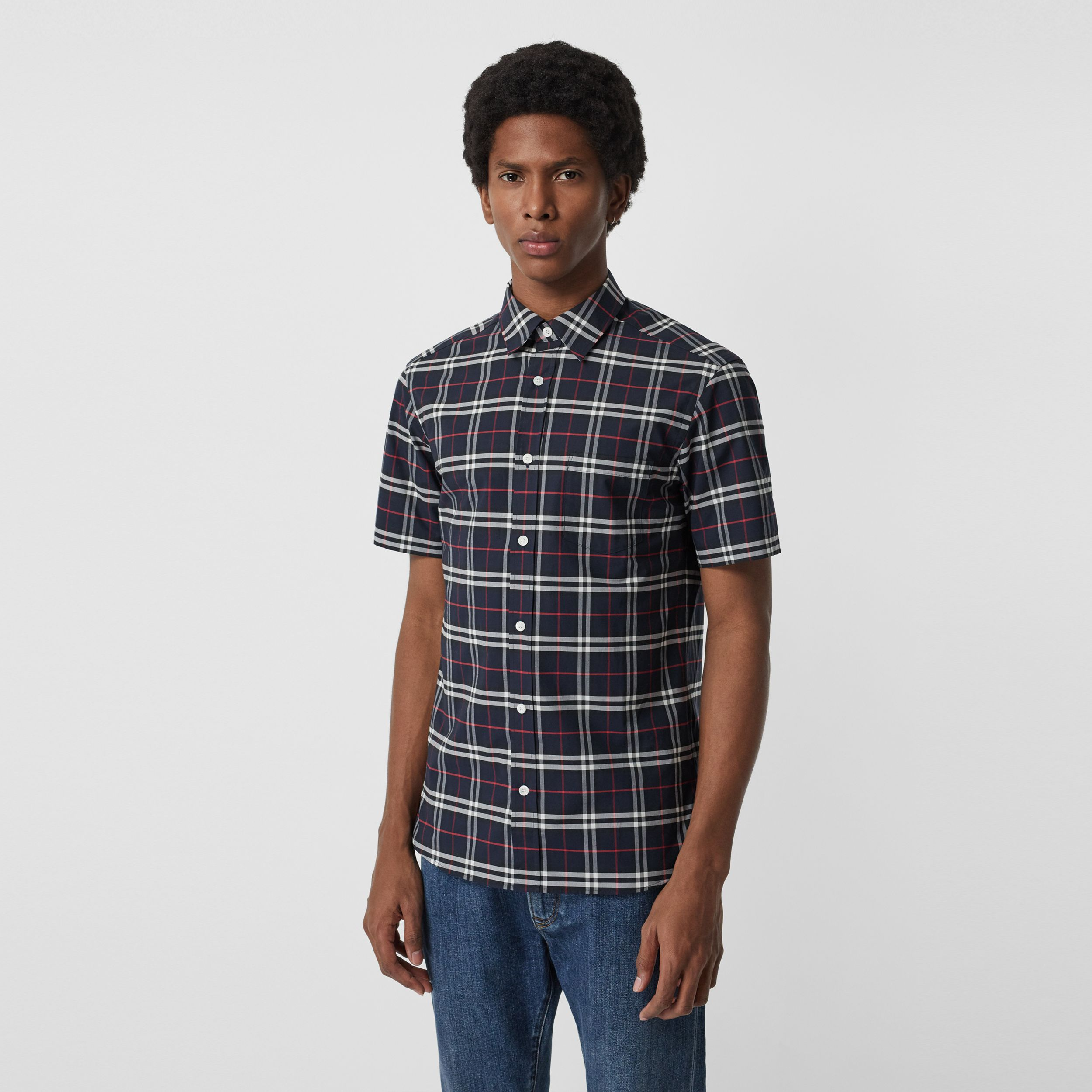 Short-sleeve Check Stretch Cotton Shirt in Navy - Men | Burberry - 1