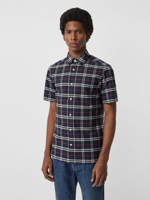Short-sleeve Check Stretch Cotton Shirt in Navy