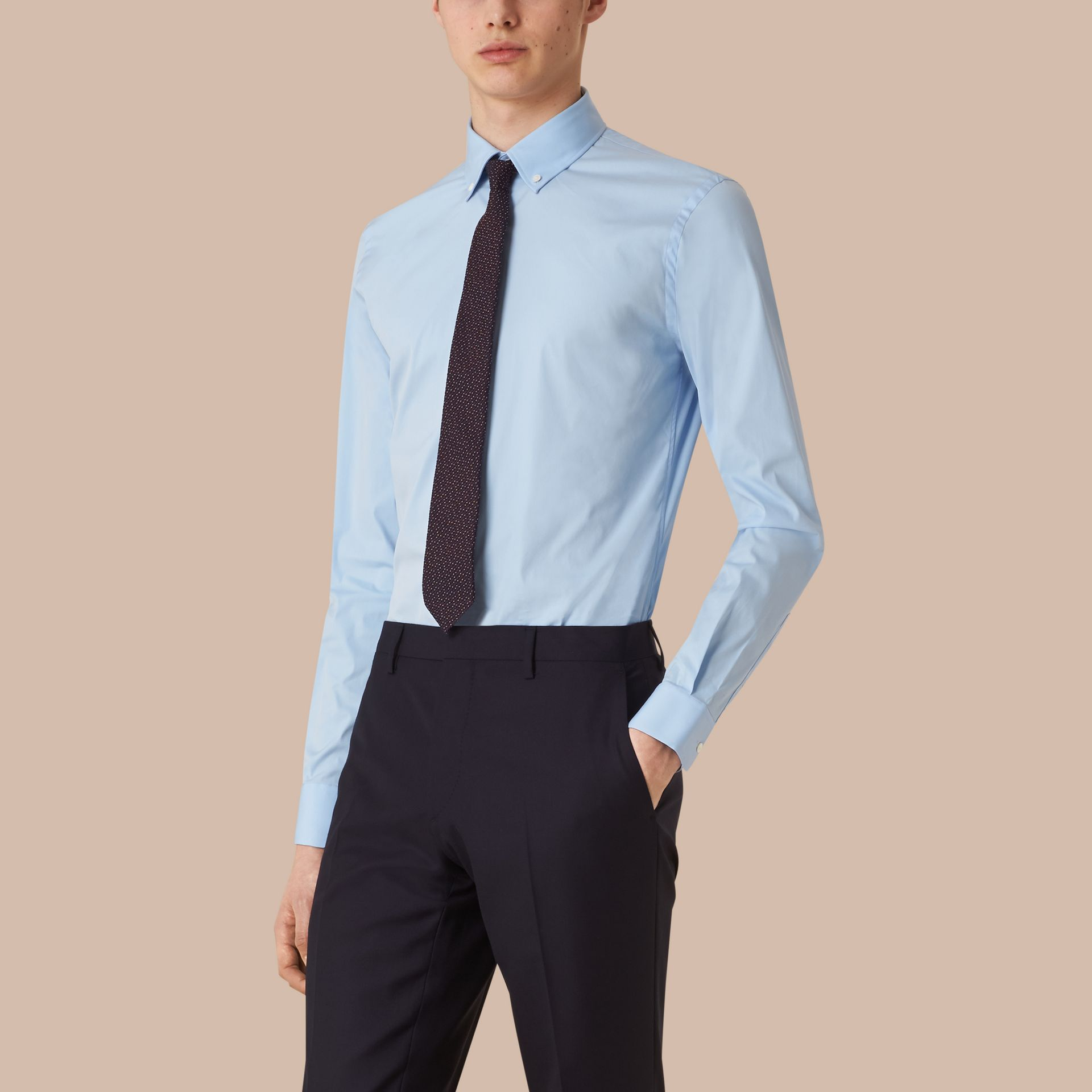 Slim Fit Button-down Collar Stretch-cotton Shirt in City Blue - gallery image 1