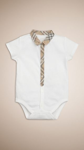 Check Detail Cotton Bodysuit