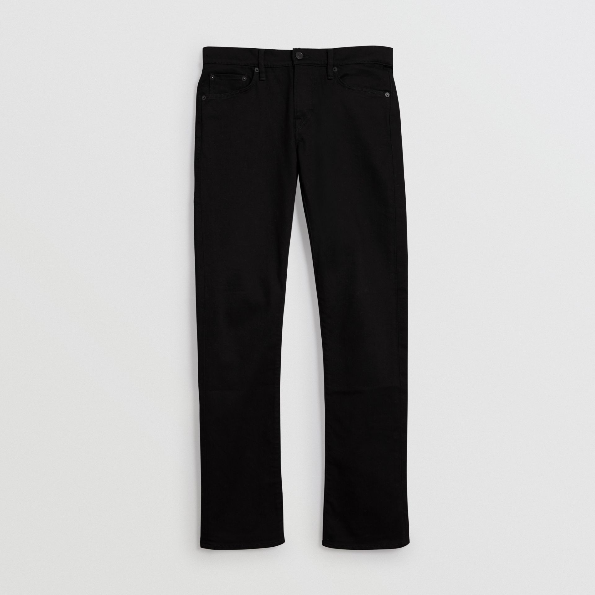 Jean denim extensible de coupe droite (Noir) - Homme | Burberry Canada - photo de la galerie 3
