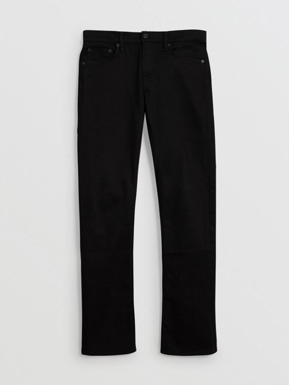 Jeans dal taglio dritto in denim stretch (Nero)
