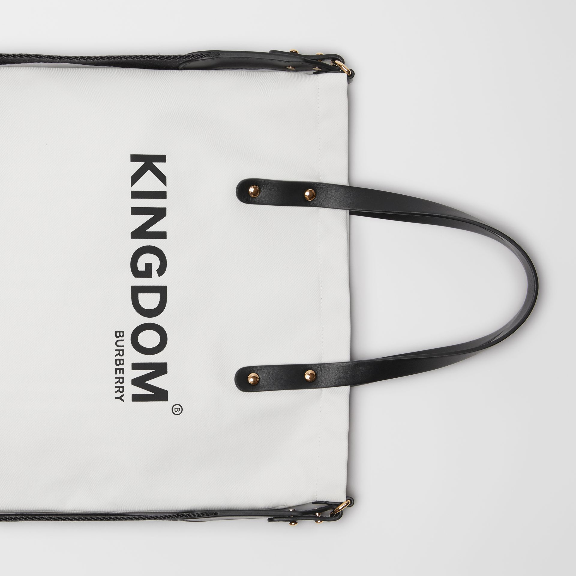 Kingdom Print Cotton Tote in Black | Burberry Hong Kong S.A.R - gallery image 1