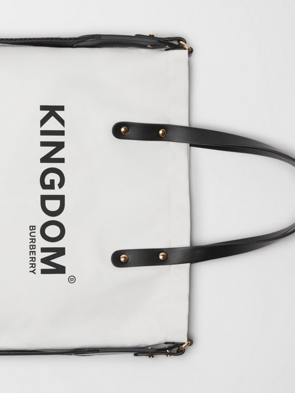 Kingdom Print Cotton Tote in Black | Burberry - cell image 1