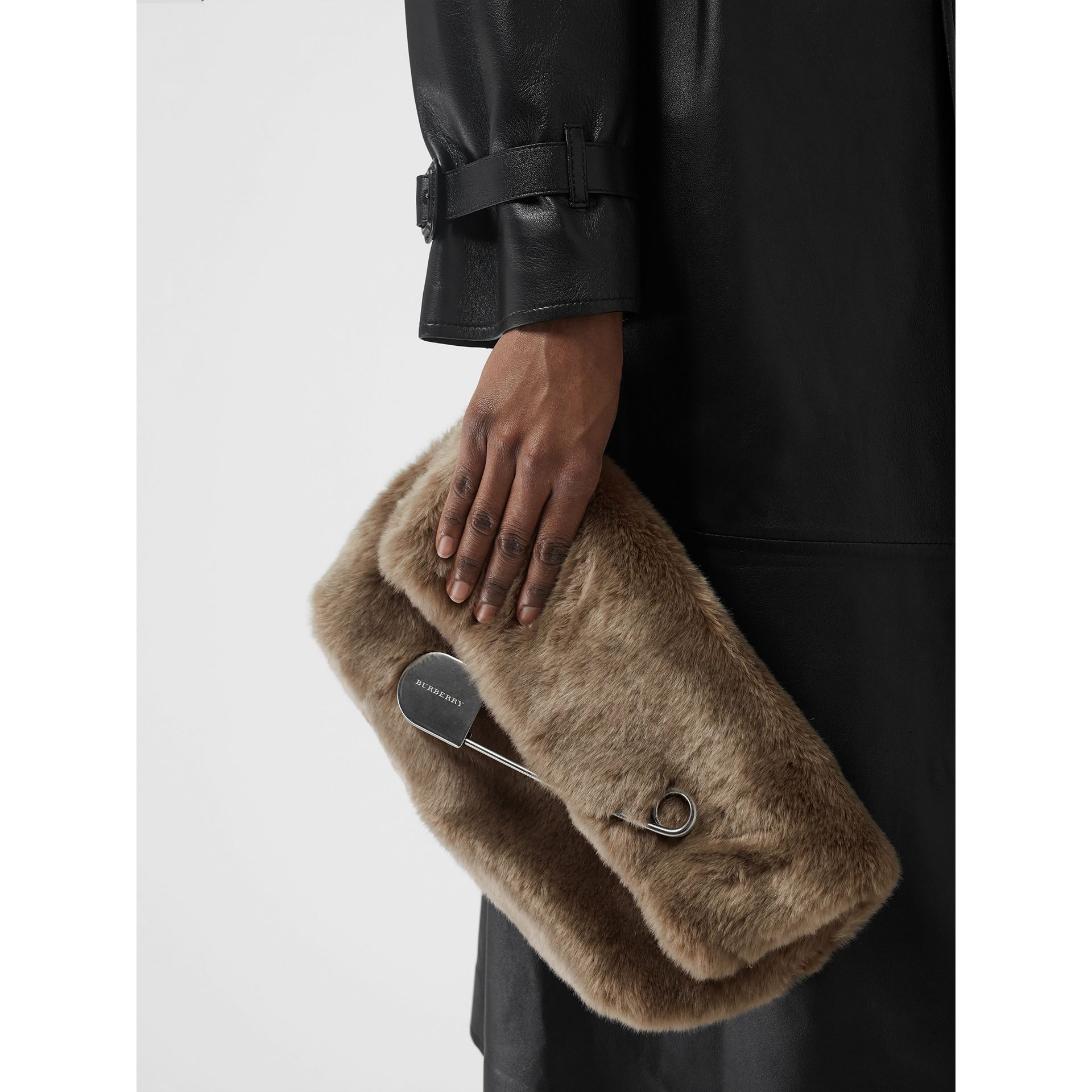 The Medium Pin Clutch in Faux Fur in Light Grey - Women | Burberry - gallery image 3