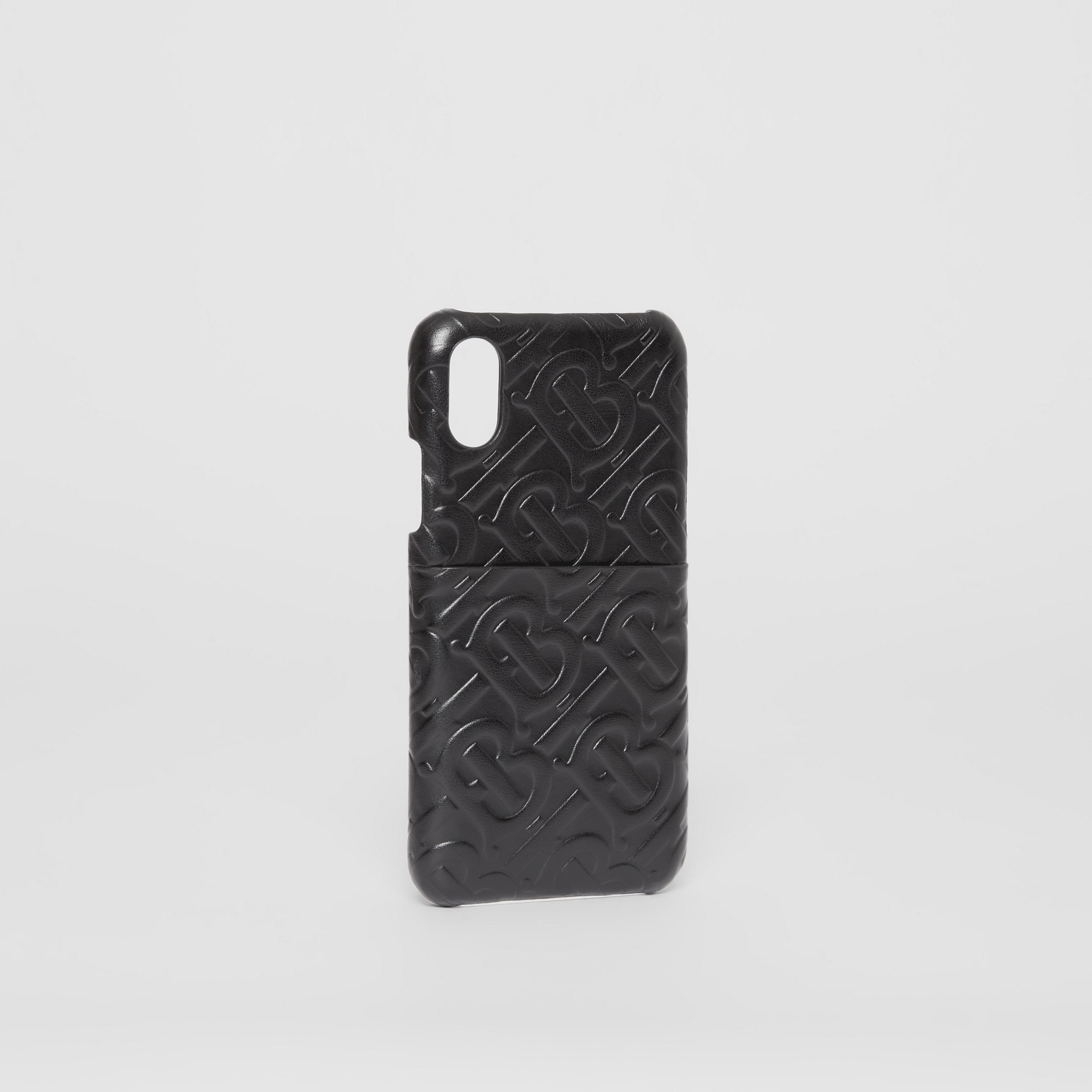 Monogram Leather iPhone X/XS Case in Black | Burberry United Kingdom - 3