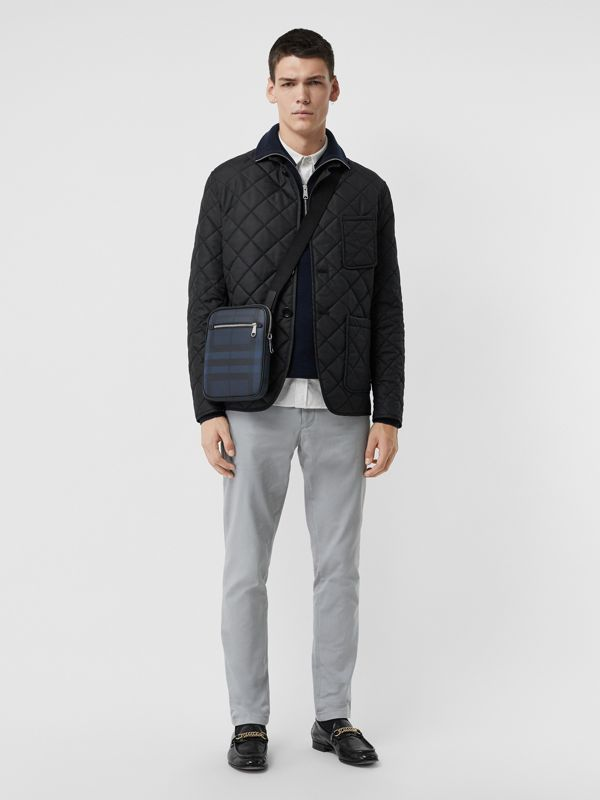 Slim London Check Crossbody Bag in Navy/black - Men | Burberry United Kingdom - cell image 2