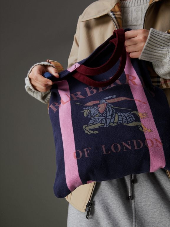 Medium Archive Logo Jersey Shopper in Navy/rose Pink | Burberry Australia - cell image 1
