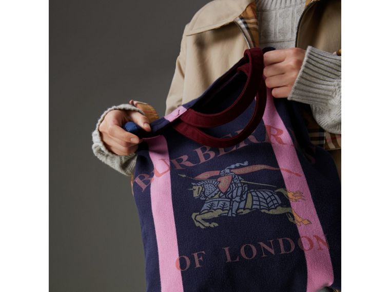 Medium Archive Logo Jersey Shopper in Navy/rose Pink | Burberry - cell image 1