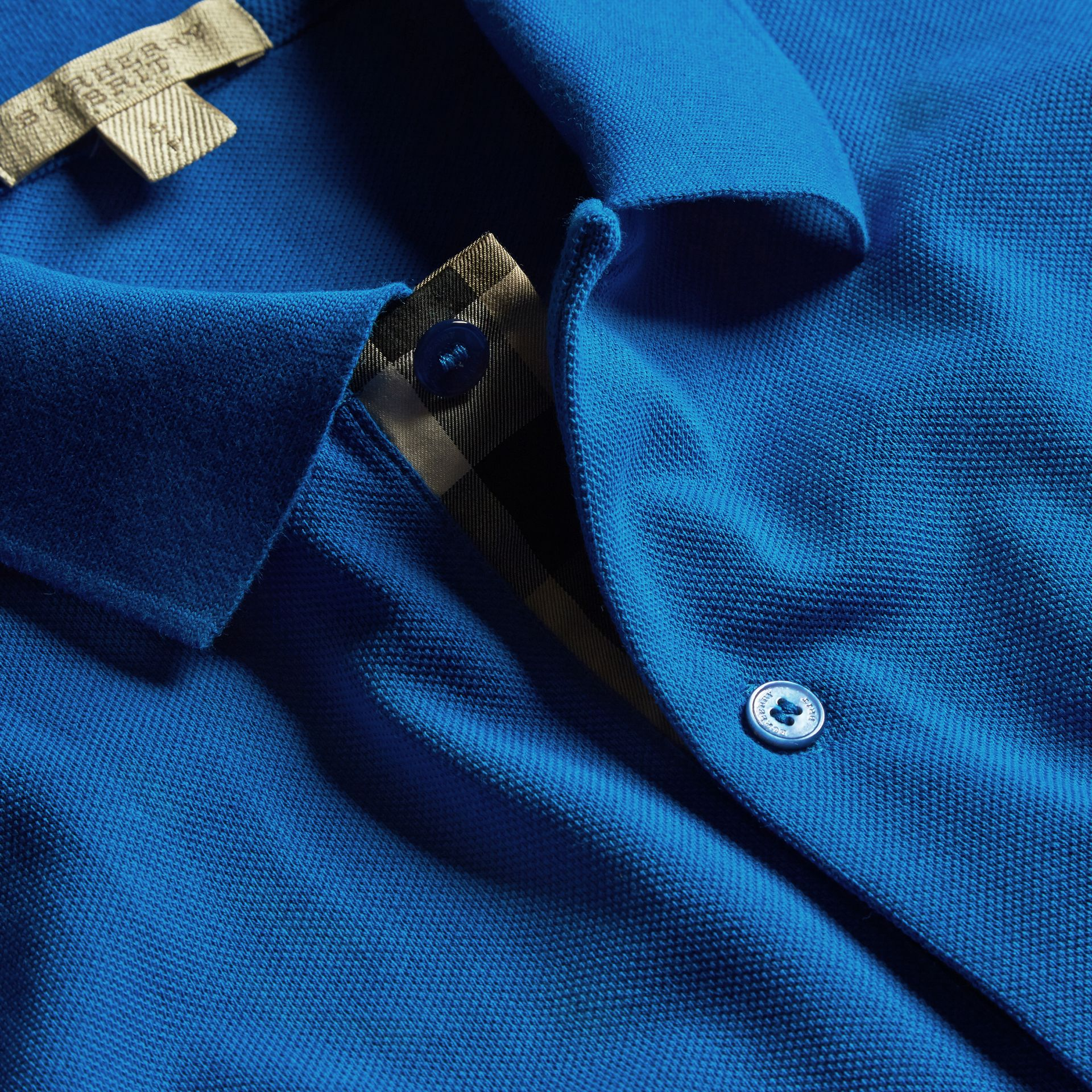 Check Placket Cotton Piqué Polo Shirt in Bright Opal - Men | Burberry - gallery image 2
