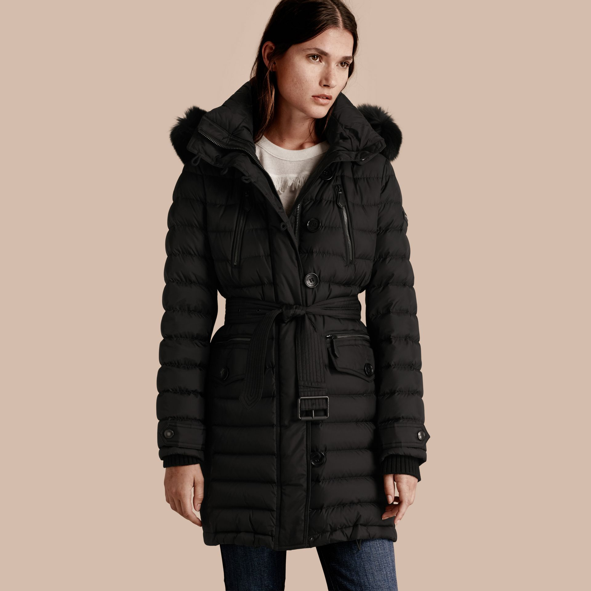 Black Down-filled Parka with Detachable Fox Fur Trim Black - gallery image 1