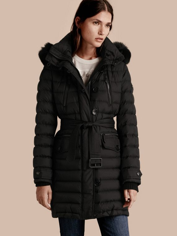 Down-filled Parka with Detachable Fox Fur Trim Black