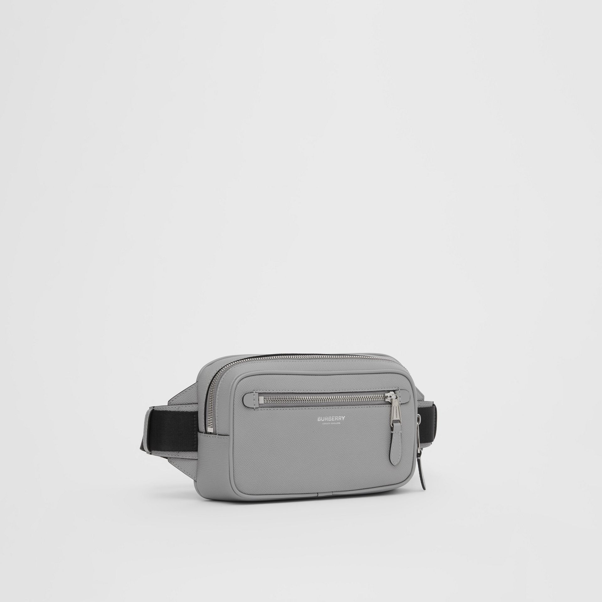 Grainy Leather Bum Bag in Cloud Grey - Men | Burberry United Kingdom - gallery image 8