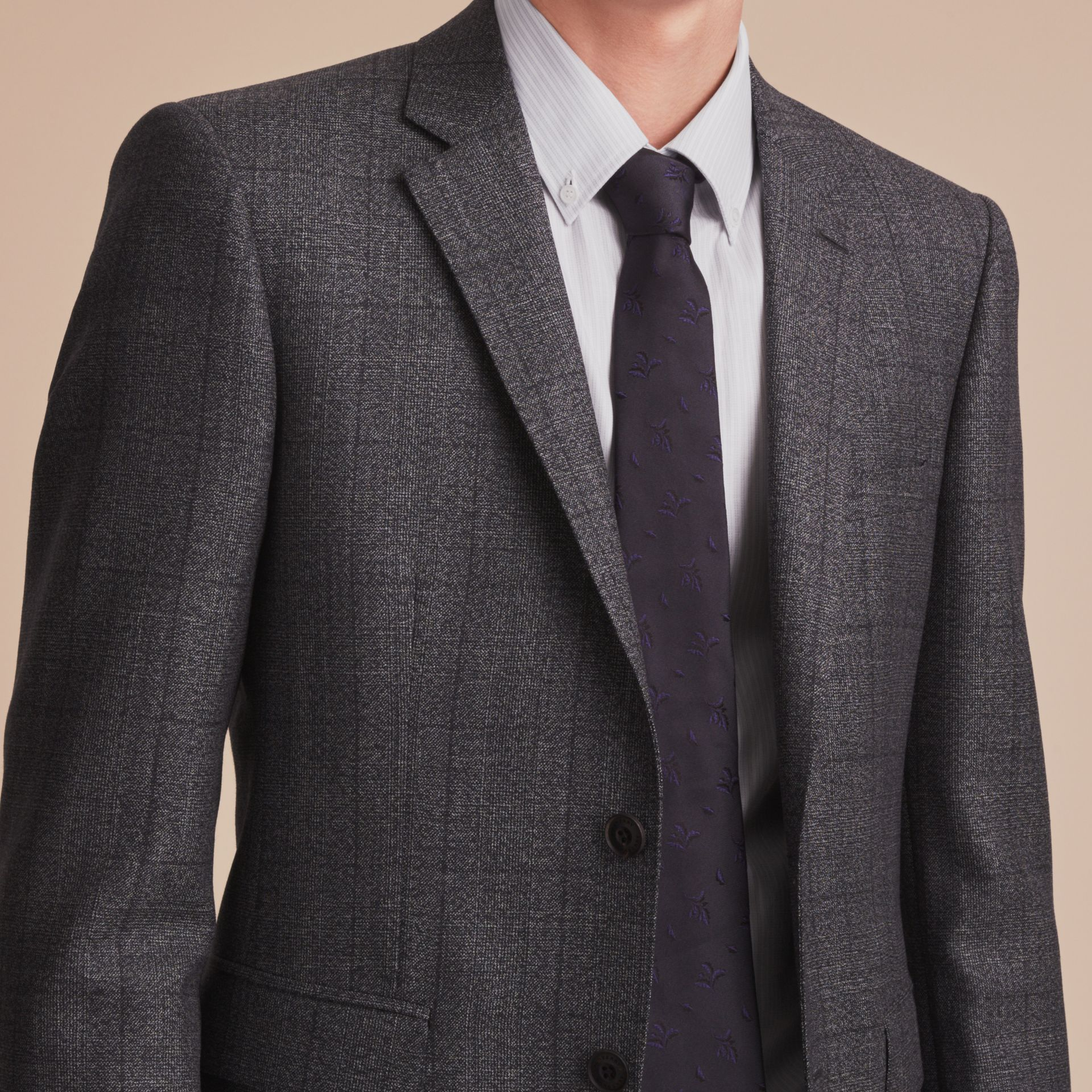 Slim Fit Check Half-canvas Wool Suit - gallery image 5