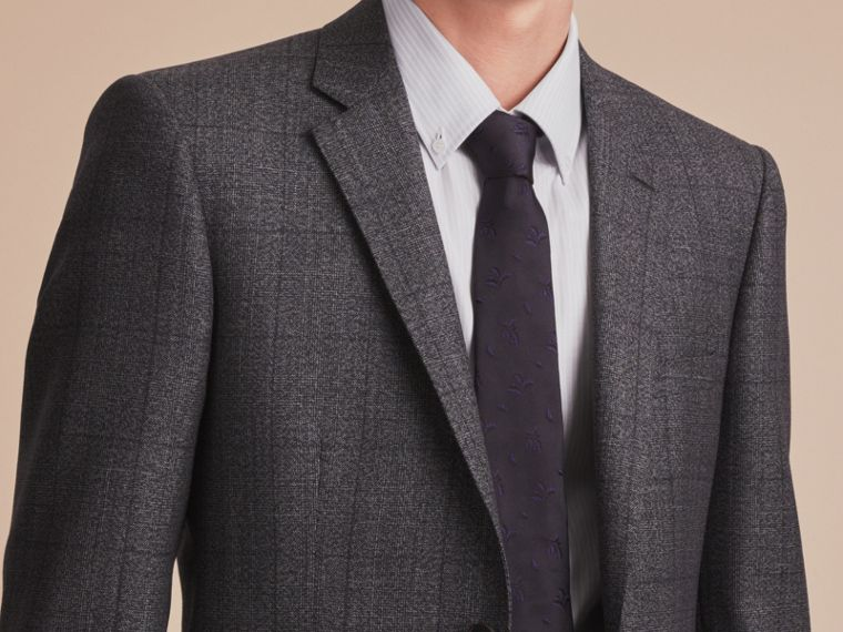 Slim Fit Check Half-canvas Wool Suit - cell image 4