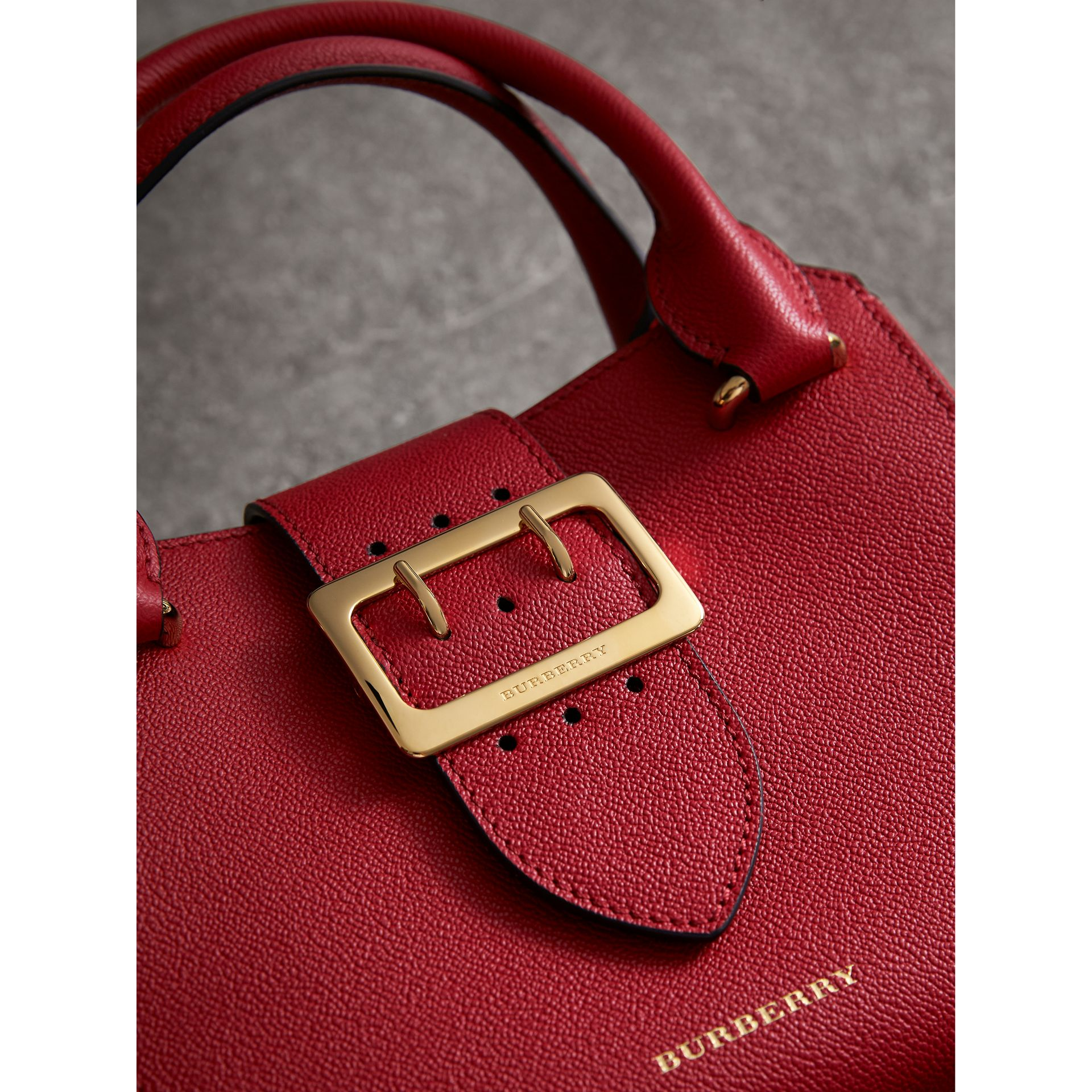 The Small Buckle Tote in Grainy Leather in Parade Red - Women | Burberry - gallery image 1