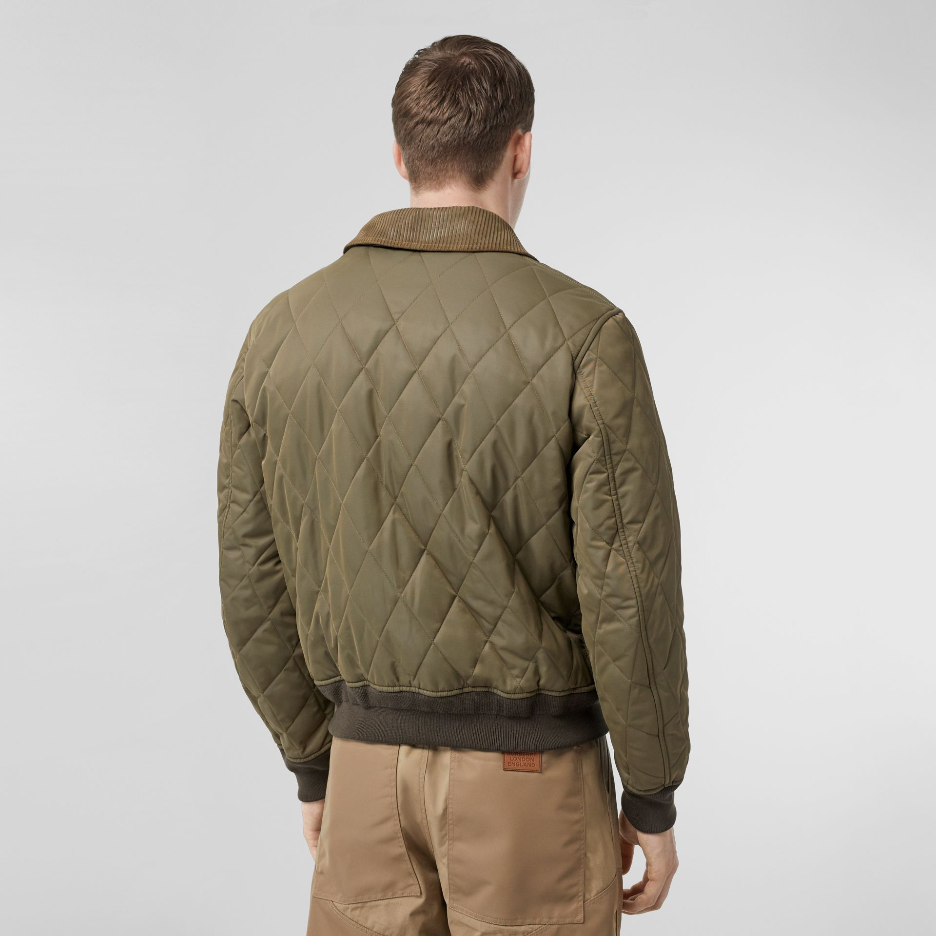 Diamond Quilted Thermoregulated Jacket in Dark Olive - Men | Burberry - gallery image 2