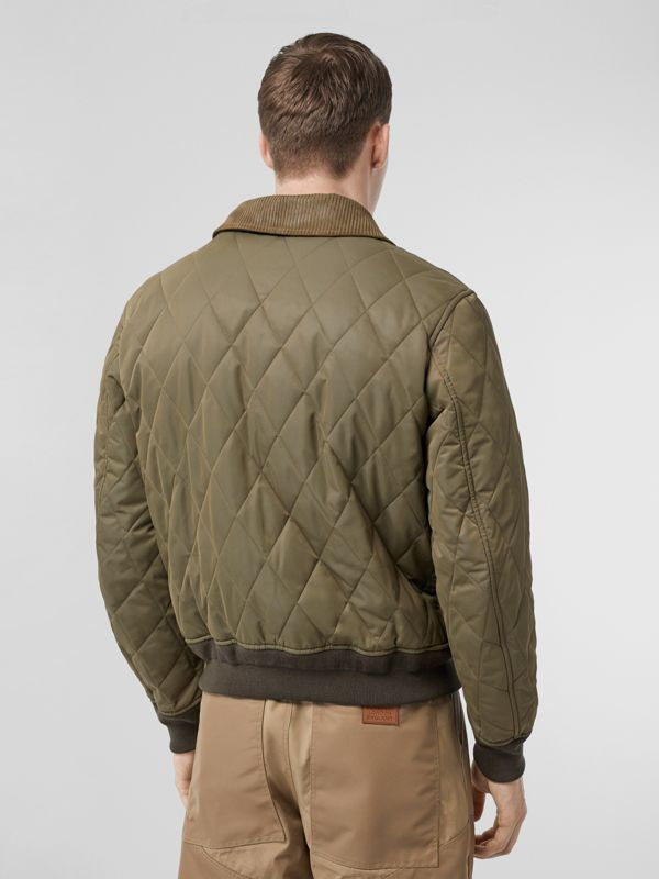 Diamond Quilted Thermoregulated Jacket in Dark Olive - Men | Burberry - cell image 2