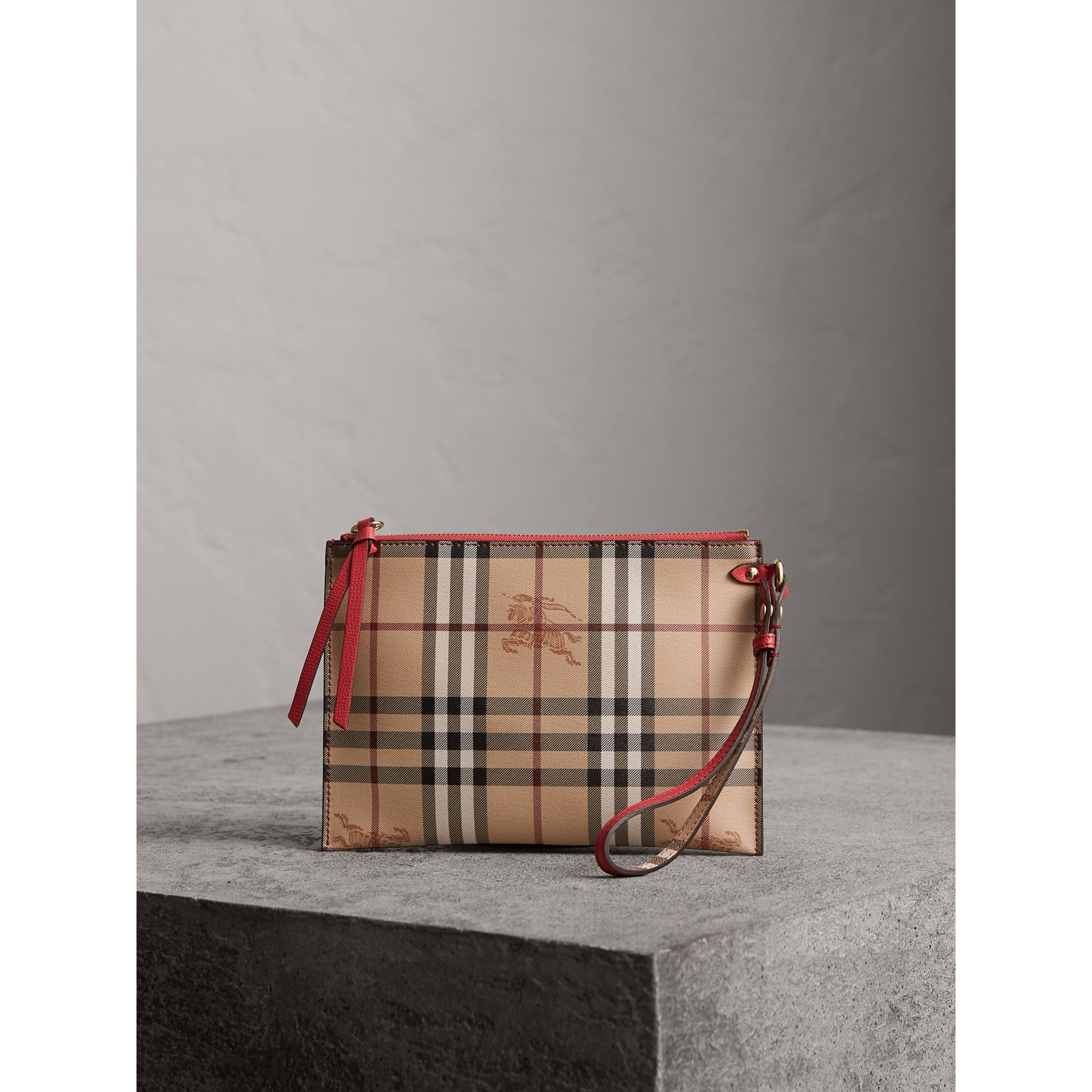 Haymarket Check and Leather Pouch in Coral Red - Women | Burberry - gallery image 1