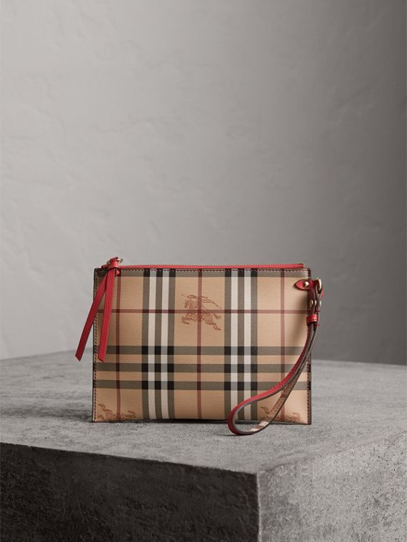 Haymarket Check and Leather Pouch in Coral Red