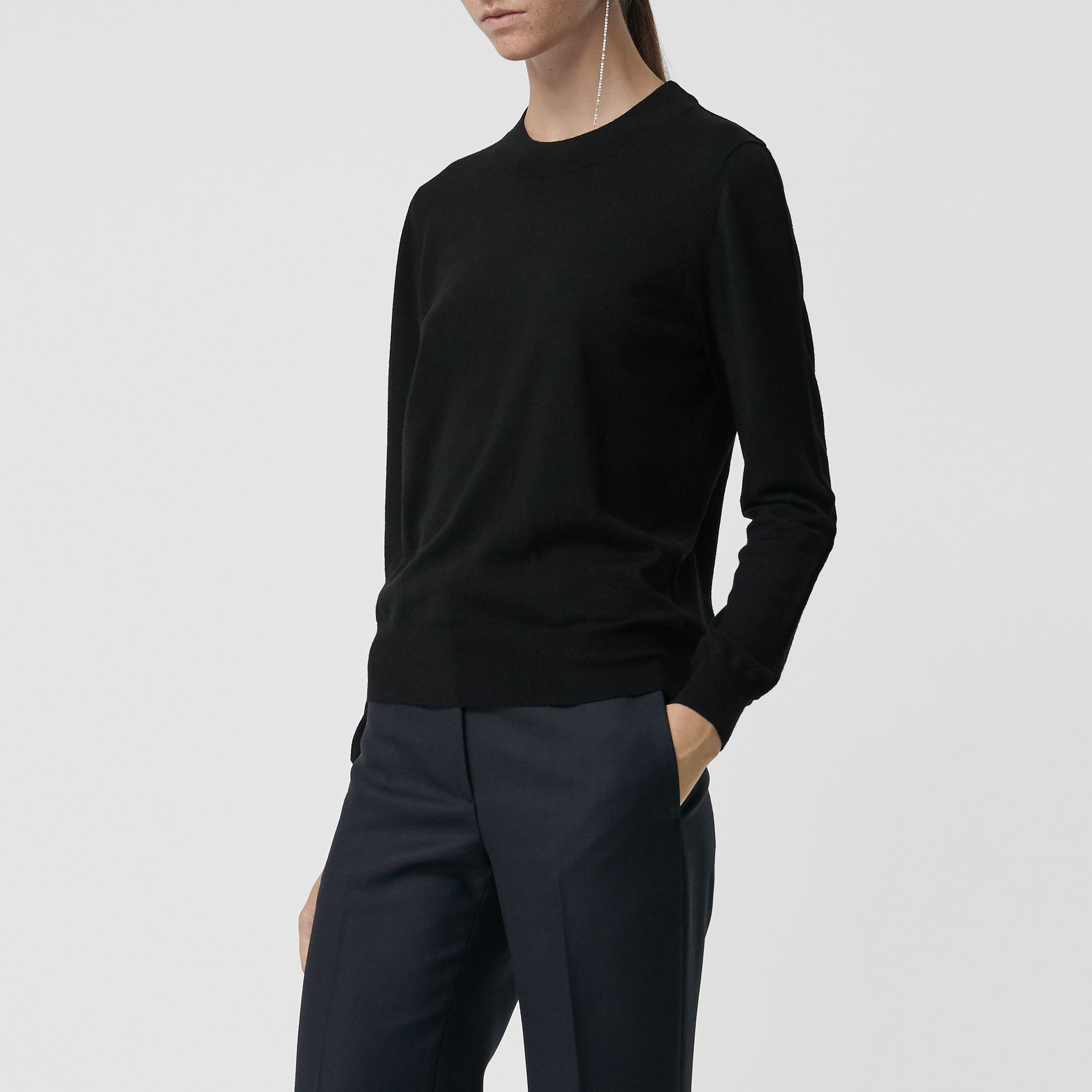 Merino Wool Crew Neck Sweater in Black - Women | Burberry - gallery image 4
