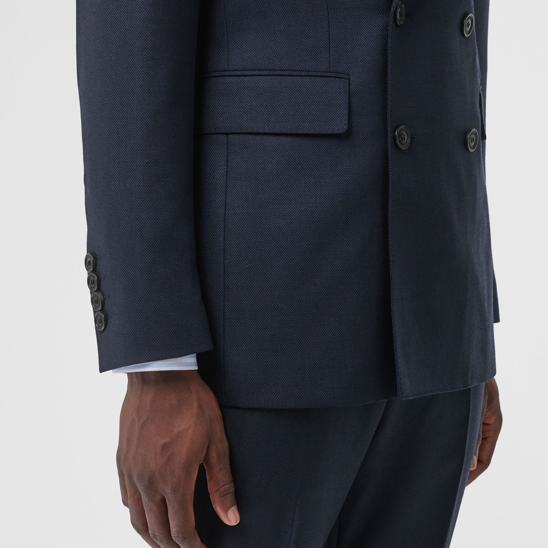 English Fit Birdseye Wool Cashmere Suit in Navy Blue | Burberry - gallery image 4