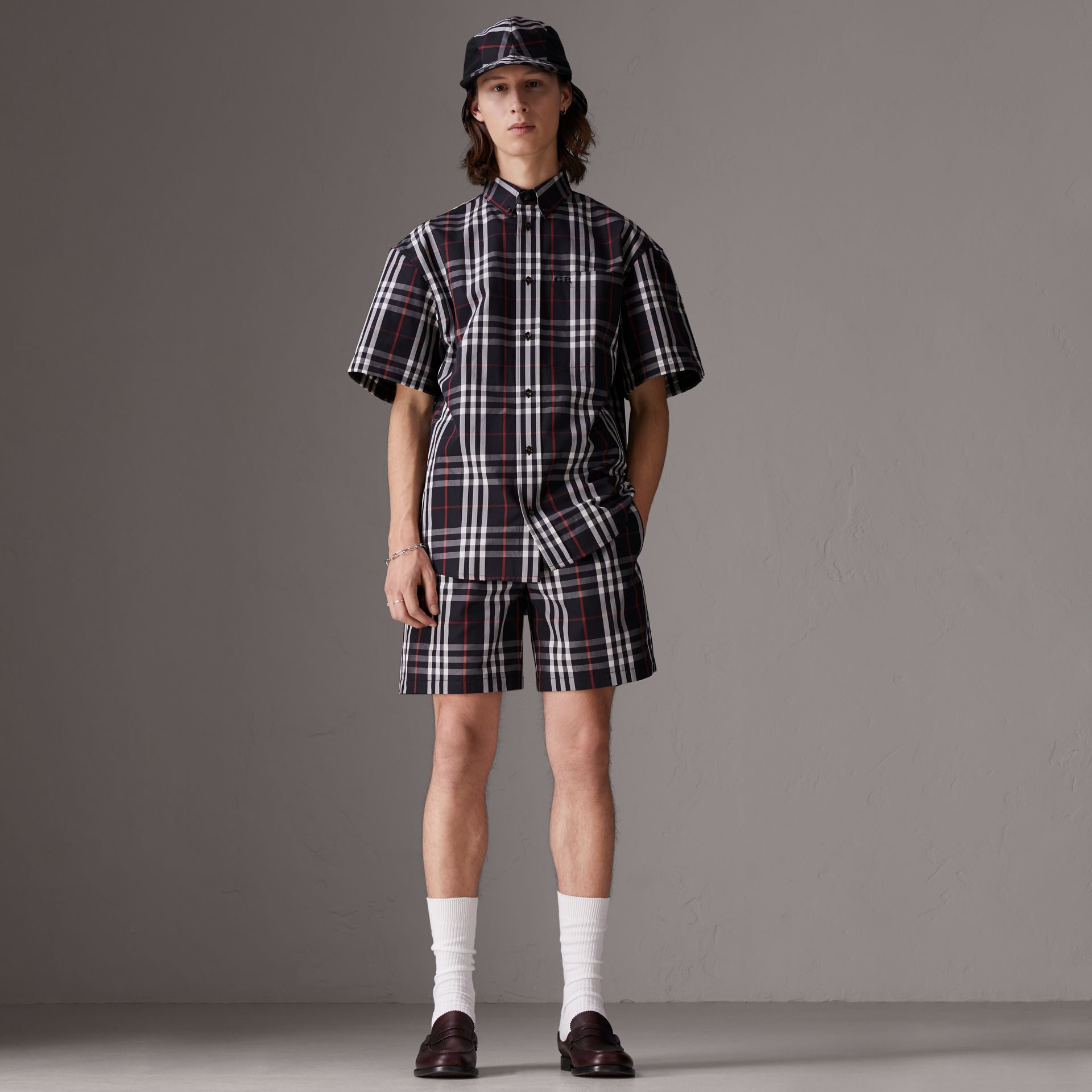 Gosha x Burberry Short-sleeve Check Shirt in Navy | Burberry United Kingdom - gallery image 2