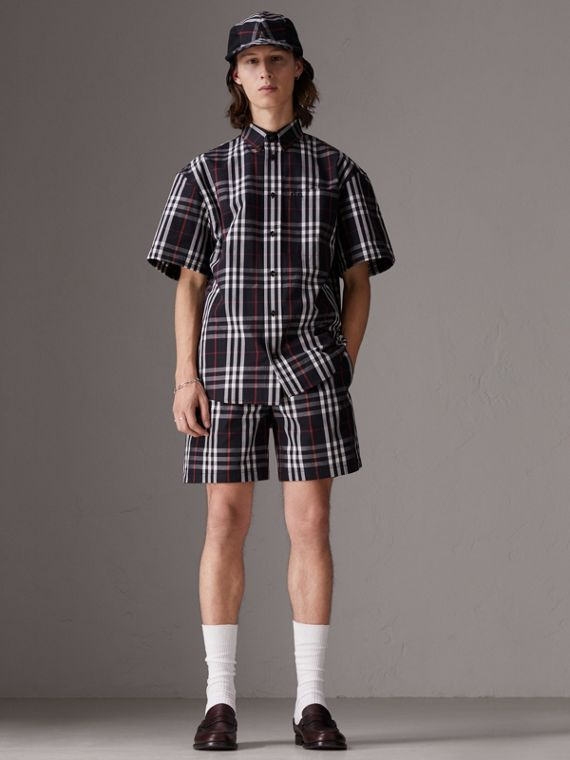 Gosha x Burberry Short-sleeve Check Shirt in Navy | Burberry Canada - cell image 2