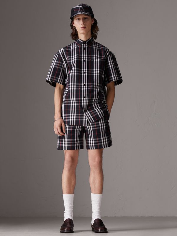 Gosha x Burberry Short-sleeve Check Shirt in Navy - Men | Burberry United Kingdom - cell image 2