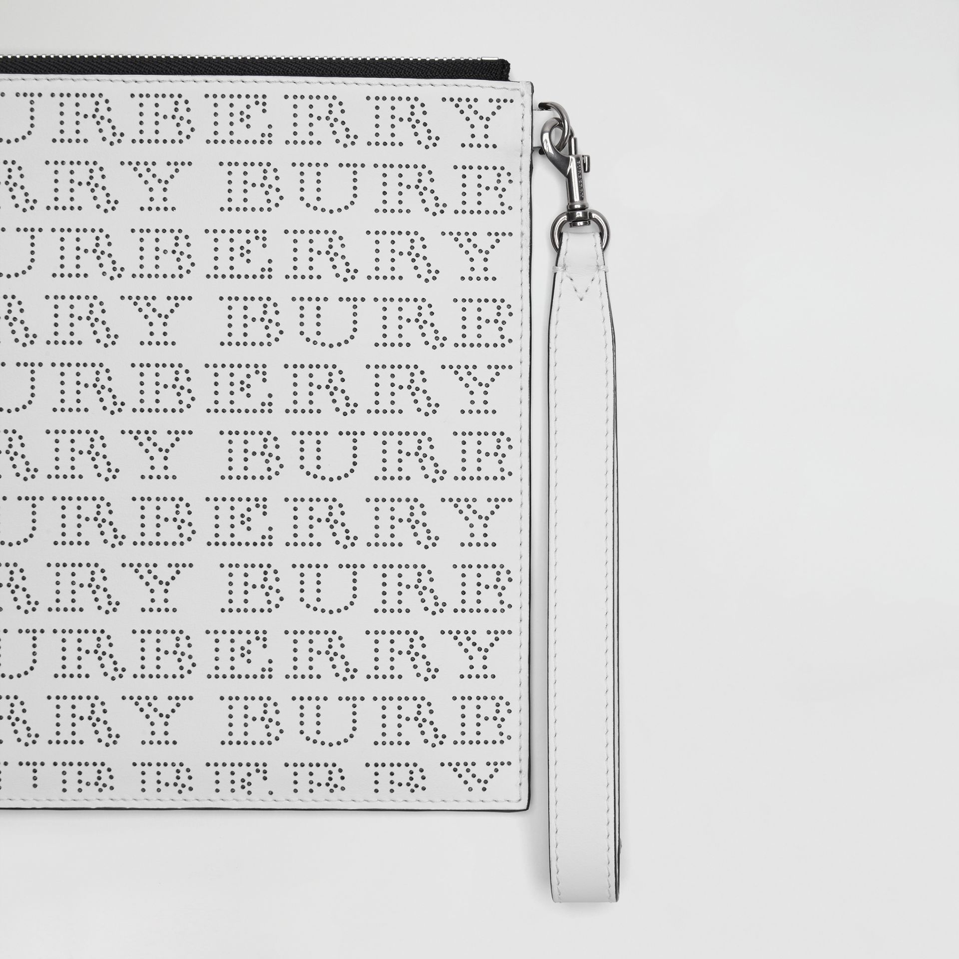 Perforated Logo Leather Zip Pouch in Optic White | Burberry - gallery image 1