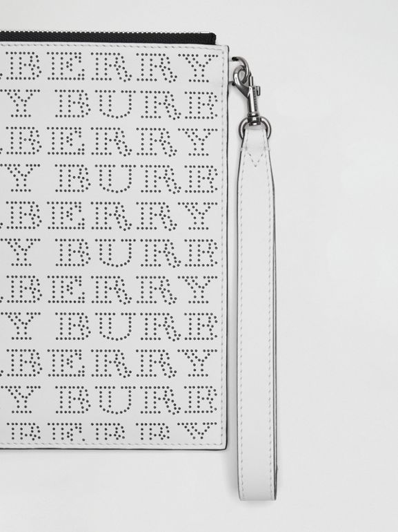 Perforated Logo Leather Zip Pouch in Optic White | Burberry - cell image 1