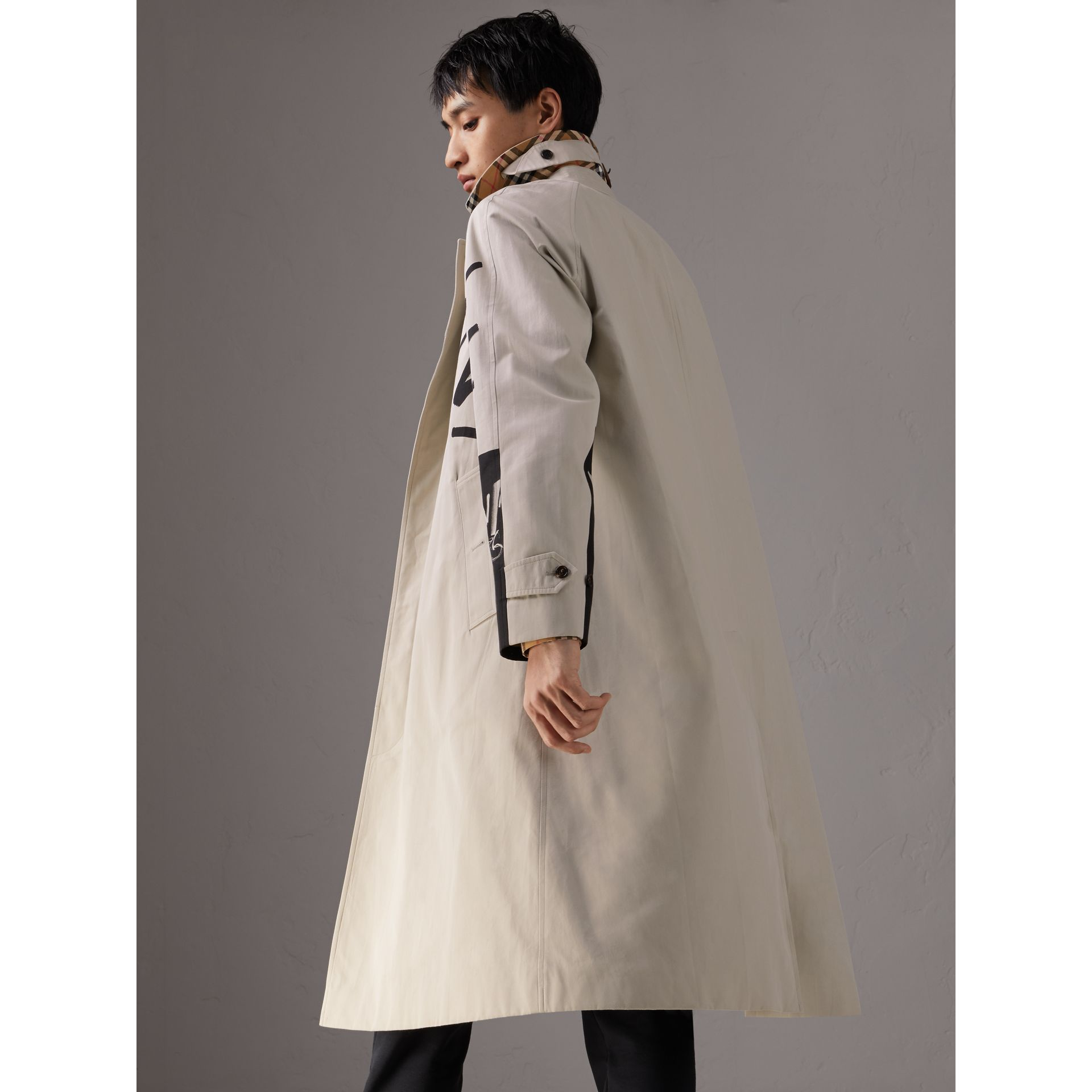 Burberry x Kris Wu Gabardine Car Coat in Stone - Men | Burberry - gallery image 2