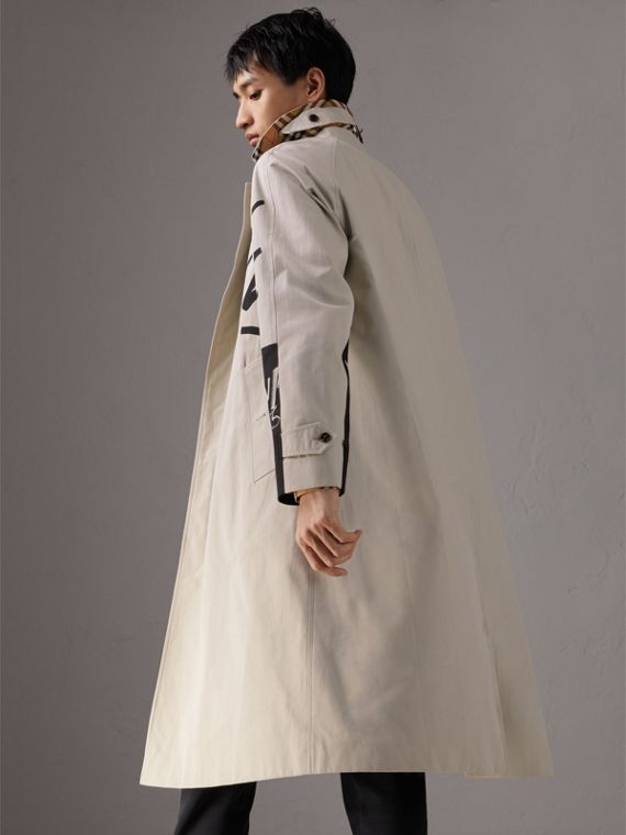 Burberry x Kris Wu Gabardine Car Coat in Stone - Men | Burberry Singapore - cell image 2
