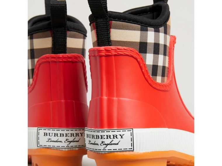 Vintage Check Neoprene and Rubber Rain Boots in Bright Red | Burberry - cell image 1