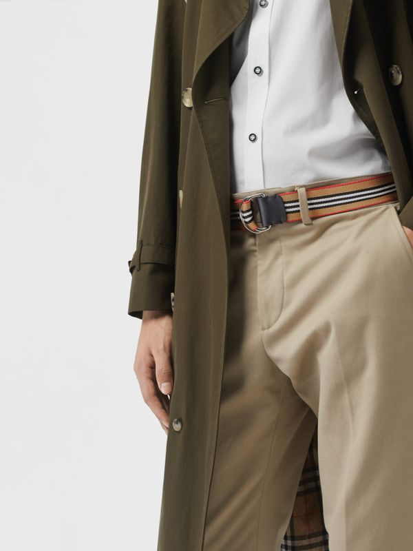Icon Stripe Double D-ring Belt in Antique Yellow - Men | Burberry - cell image 2