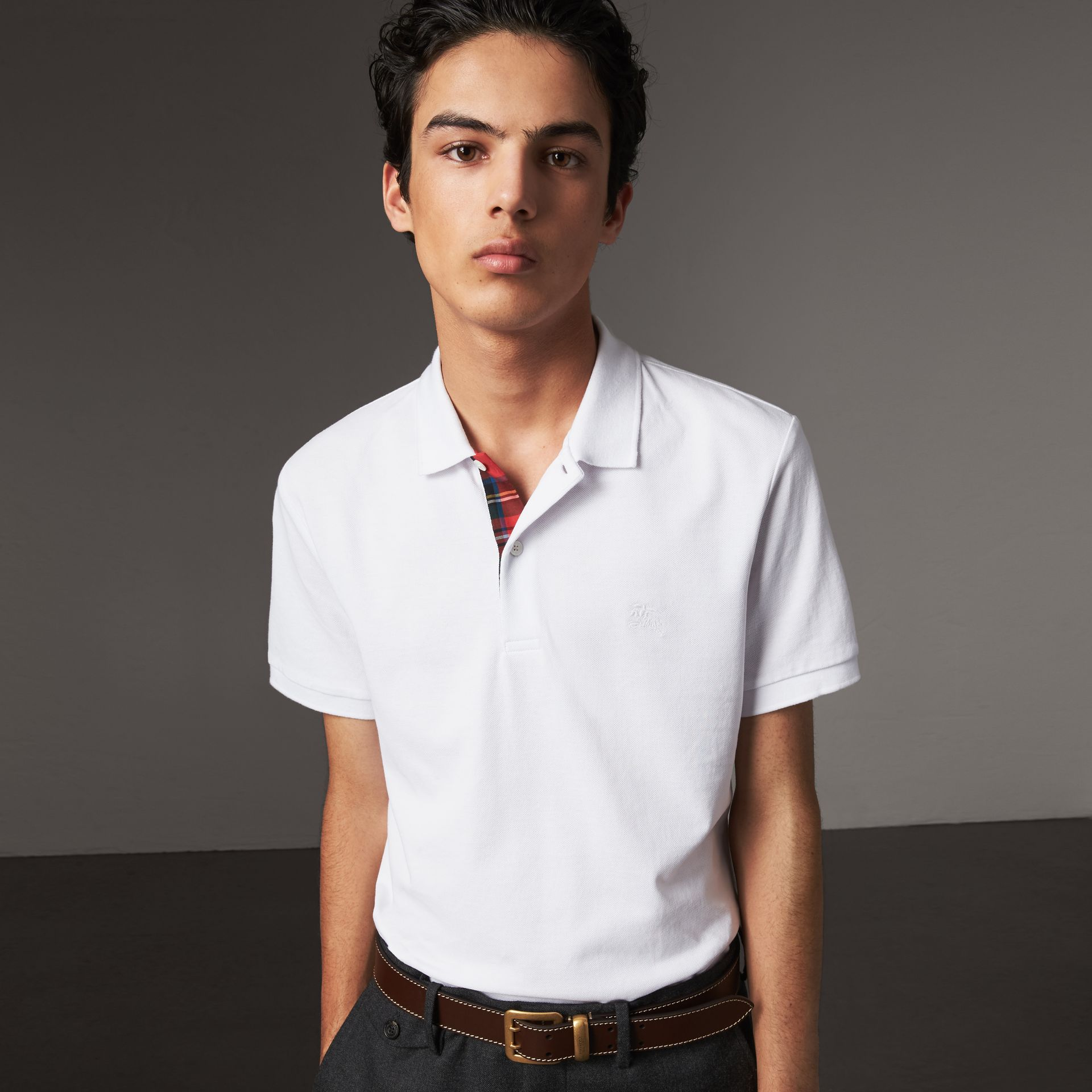 Tartan Trim Cotton Piqué Polo Shirt in White - Men | Burberry - gallery image 0