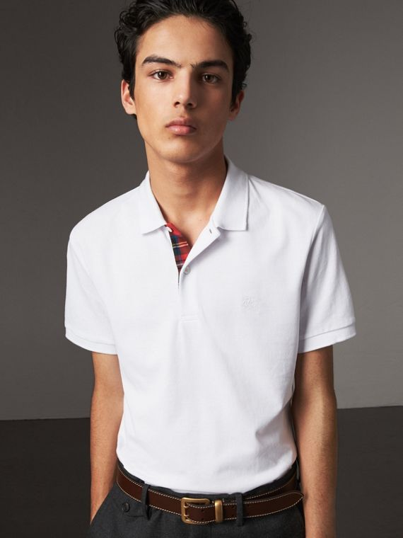 Tartan Trim Cotton Piqué Polo Shirt in White