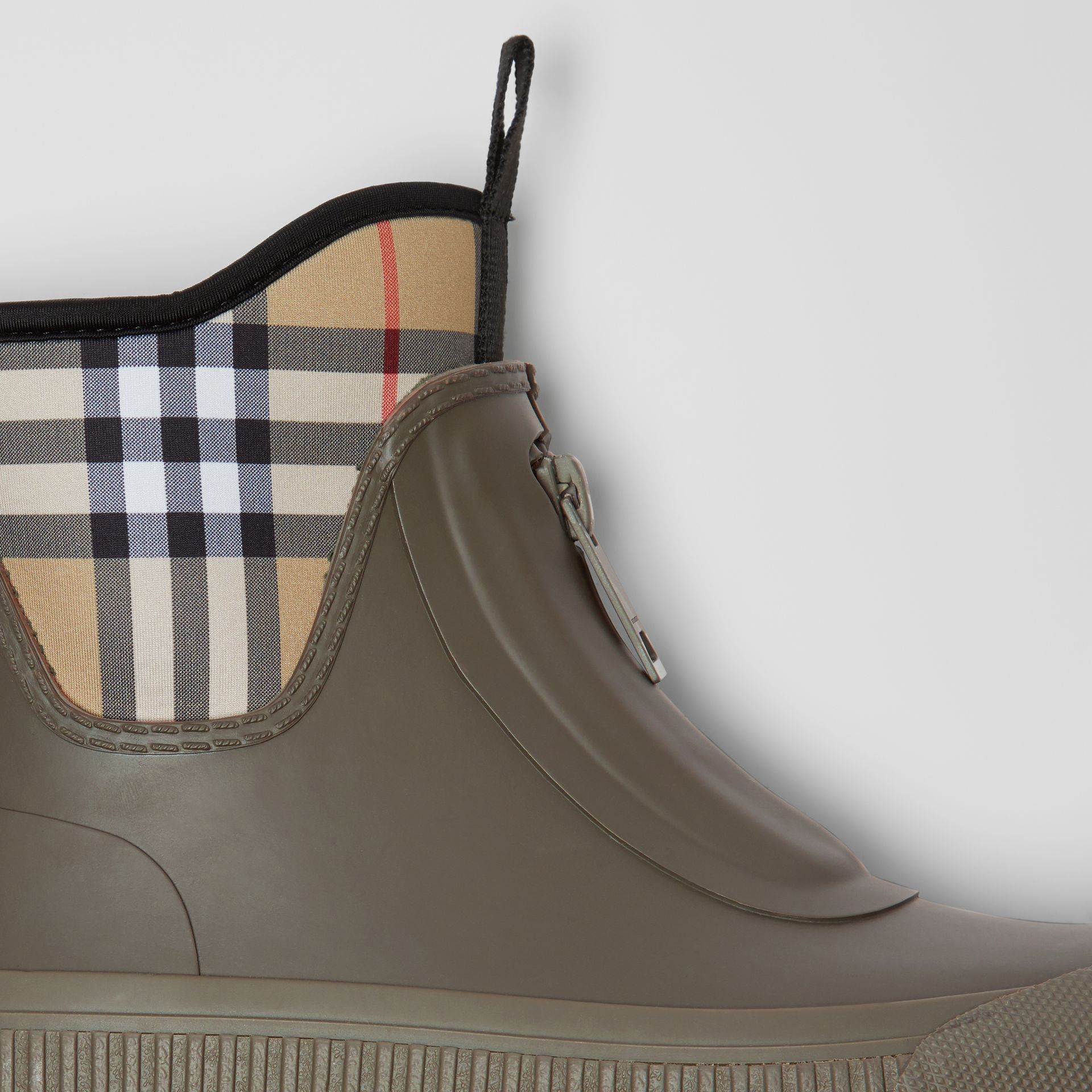 Vintage Check Neoprene and Rubber Rain Boots in Military Green - Women | Burberry - gallery image 1